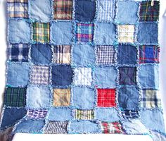 Recycled denim rag quilt, check plaid shirt, eco friendly, picnic, blanket, rag rug, mat, custom made. £25.00, via Etsy.