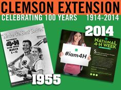 Promotional materials for National 4-H week 1955 and 2014. Photos provided by Clemson University Archives and http://www.4-h.org. #ClemsonExt100