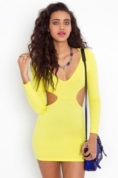 neon cut-out dress