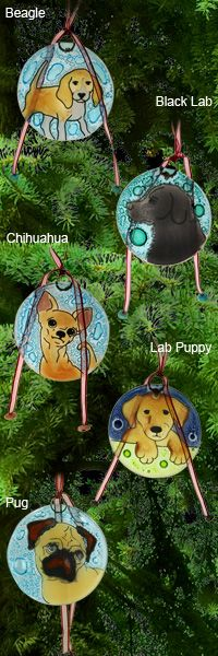 Recycled Glass Dog Ornament at The Animal Rescue Site
