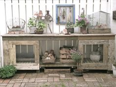 DIY Potting Table  - love the little screen doors on front