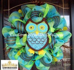 Lime and Turquoise Owl Wreath. $95.00, via Etsy.