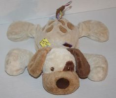 "Taggies Dog Buddy collar plush stuffed satin ribbon tag tan brown Mary Meyer 11"""