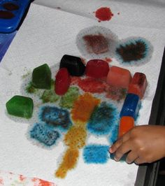 Kool-Aid Ice cube painting and dyeing...
