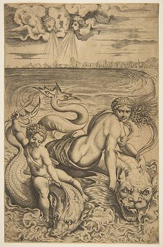 """""""Venus and Eros Carried by Dolphins"""" --- Marco Dente (designed by Raphael); ca. 1515-1527"""