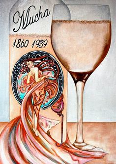Alphonse Mucha Wine Label - oil painting