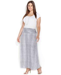 Calvin Klein Plus Size Snakeskin-Print Maxi Skirt - Plus Size Skirts - Plus Sizes - Macy's