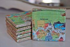 vintag magic, vintage disney, memori, vintage maps, magic kingdom, world maps, hous, old disney, tile coasters