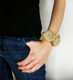 DIY - Burlap Rosette Bracelet