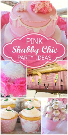 A pink shabby chic girl first birthday party with a gorgeous cake and cupcakes!  See more party ideas at CatchMyParty.com!