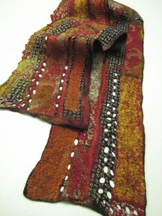 Nuno felted collage scarf in browns, orange, black and white. $250.00, via Etsy.  Andrea Graham fabulous artist CROCHETED INSERTS?