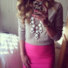 statement necklaces, style, color, bubbl necklac, outfit, pencil skirts, accessories, bubble necklaces, tan