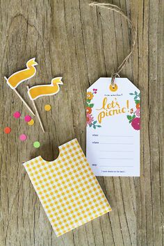 Free printable: let's picnic! invitation tags