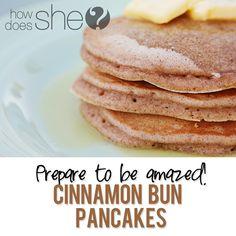 breakfast, pancakes, cinnamon bun, pancake recipes, cake yummi, bun pancak, pancake recipe easy, pancak cake, yummi cake