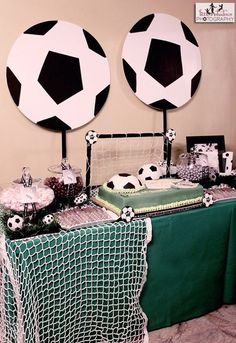 Cool soccer party dessert table! #soccer #desserttable