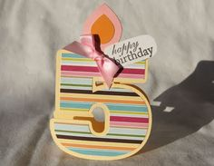 card idea, paper craft, birthdays, 5th birthday, cards for girls, die cut cards, number, bday card, birthday cards making