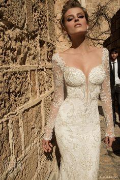 galia lahav bridal 2015 navona long sleeve sheath wedding dress close up