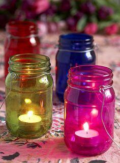 Love these brightly coloured jar lanterns =)