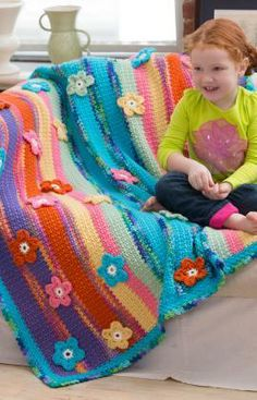 Stripes & Flowers Throw Free Crochet Pattern from Red Heart Yarns