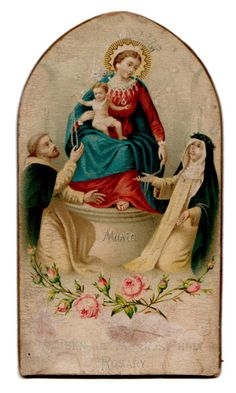 Maria Queen of Holy Rosary Vintage Holy Card