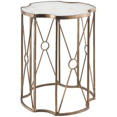 The shape of the table top and the elegantly designed vertical supports has made the Marlene Side Table one of our staff's favorite pieces. A Gold Leaf finish and an antiqued mirror add an extra touch of sophistication to this beautiful side table.