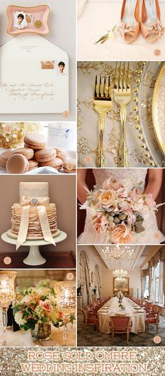 Rose gold wedding ideas from wedding cake to shoes to bouquet to invitations