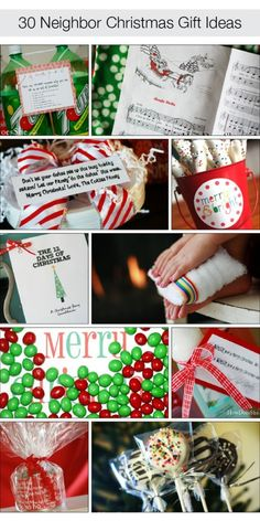 30 Neighbor Gift Ideas:                                                                              http://www.howdoesshe.com/category/decorate-for-the-seasons/christmas/30-neighbor-christmas-gifts-ideas