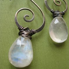 more rustic way to wrap a briolette marqui jewelri, spirals, rainbow spiral, rainbows, juliana marqui, inspir, wirewrap earring, earrings, spiral earring