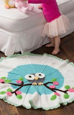 crochet blankets, rug, free pattern, owl blanket, crochet owls