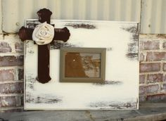 Distressed Wooden Cross Picture Frame on Etsy, $45.00