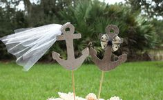 Anchors Away wedding cake topperAnchorsboat by MorganTheCreator, $28.00