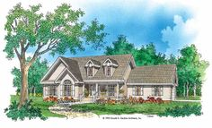 Home Plans HOMEPW07234 - 1,633 Square Feet, 3 Bedroom 2 Bathroom Country Home with 2 Garage Bays