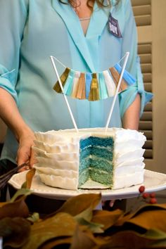 ombre gender reveal cake