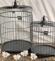 """Set of 2 Grey Metal Bird Cages    19"""" & 13""""   with hangers  $50 set"""