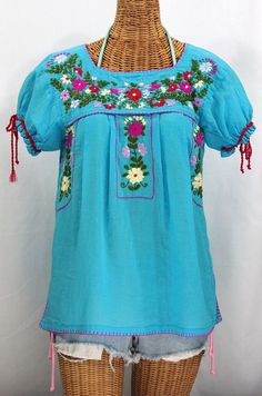 "Siren's ""La Antiguita"" Embroidered Mexican Style Peasant Blouse - Aqua #siren #bohemian #sirenbrand #sirensurf #sirensong #sirenology #mexicandress #peasantblouse #summerfashion #boho #gypsy #mexicanblouse"