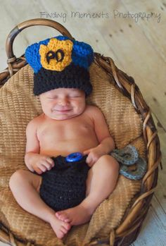 Crochet Police Officer Hat, Handcuffs and Diaper Cover. $48.00, via Etsy.