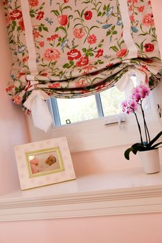 Floral Roman Shade in Traditional Classic Preppy Girl's Room - we love the ribbon detail! #biggirlroom