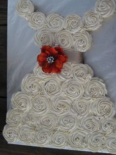 Cupcake Wedding Dress. 36 cupcakes.   This cake WILL NOT FIT on a standard 13 x 19 cake board.  I had to make a board  18 x 23