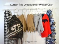 Use a curtain rod to organize winter clothes and accessories. / 24 Easy Ways To Get Your Home Ready For Winter