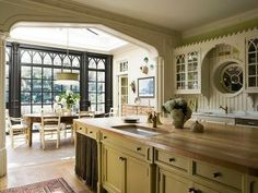Gorgeous kitchen with some very cool Gothic architectural elements