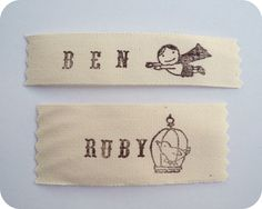 DIY hand-stamped clothing labels