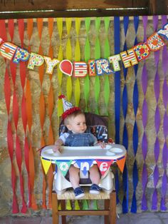 First birthday. Rainbow/primary color birthday party.