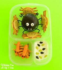 Creepy Crawler Halloween Bento lunch from KitchenFunWithMy3Sons.com