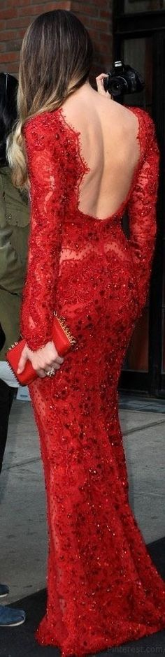 Lady in RED...Emilio Pucci ravishing red gown in lace