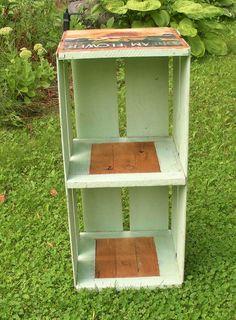 Vintage Green Orange Crate Bookshelf with by WildrosePrimitives, $27.00