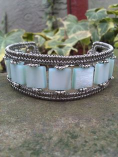 Wire wrapped shell bracelet