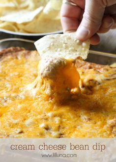 mexican bean dip, mexican cheese dip recipes, cheese dips, mexican beans, refried beans, favorit dip, cream cheese dip, chees bean, cream cheese bean dip
