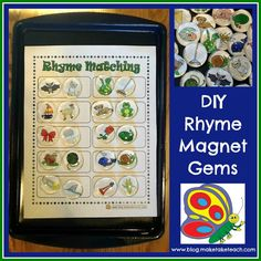 FREE pics to make your own gem magnets! FREE template too to use on a cookie sheet.