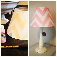 Chevron pattern painted lampshade