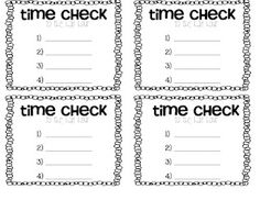 """Time Check - throughout the day teacher announces """"time check"""" and students record the time from the  classroom clock. At the end of the day they earn a sticker if they get all 4 correct."""